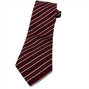 Clericci Burgundy Red and Black Striped Necktie